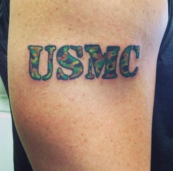 Simple USMC Block Letter Text Tattoo in Marine Corps Colors