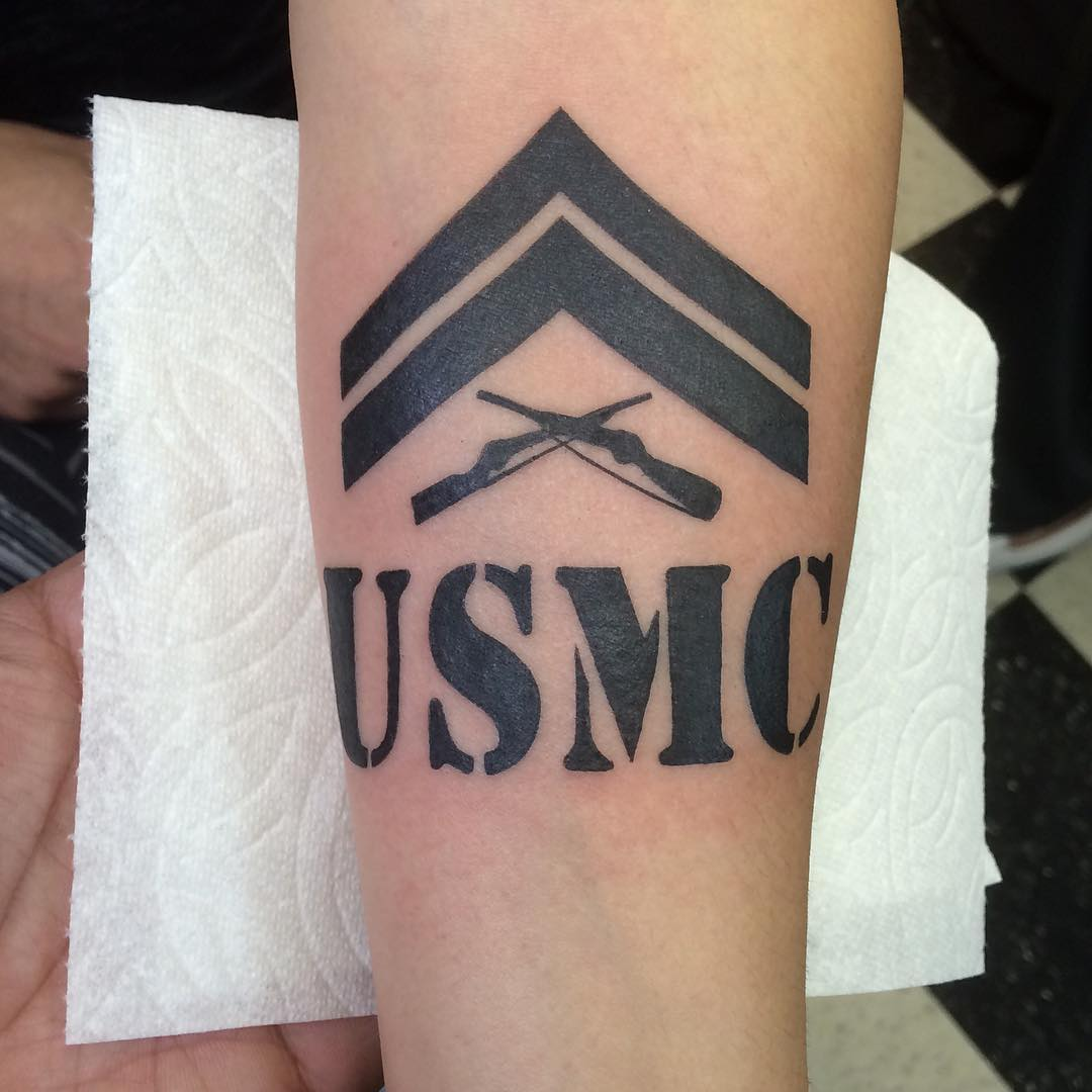 USMC Tattoo in the Style of an Army Text