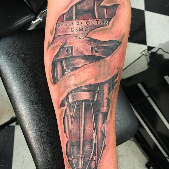 Tattoo of Cut Skin Revealing Armor Beneath Flesh