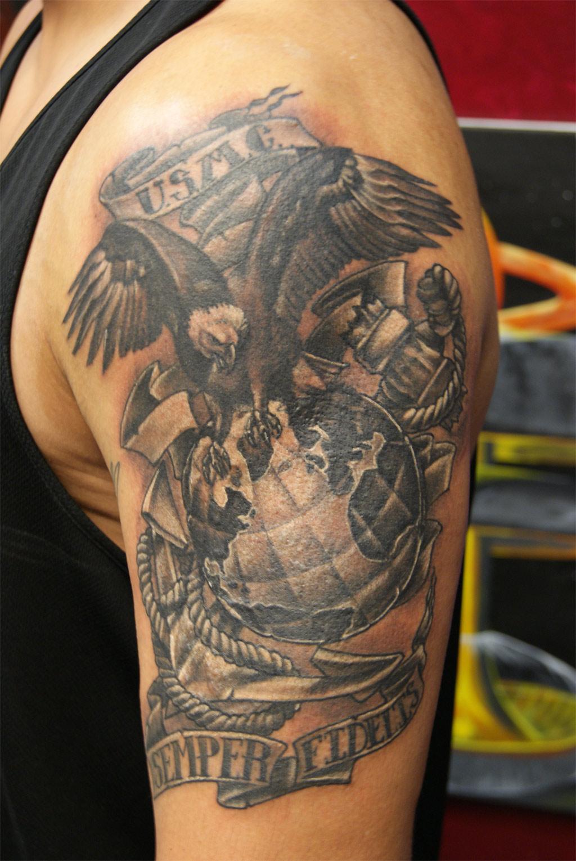 Upper Arm Semper Fi Shaded Tattoo Idea