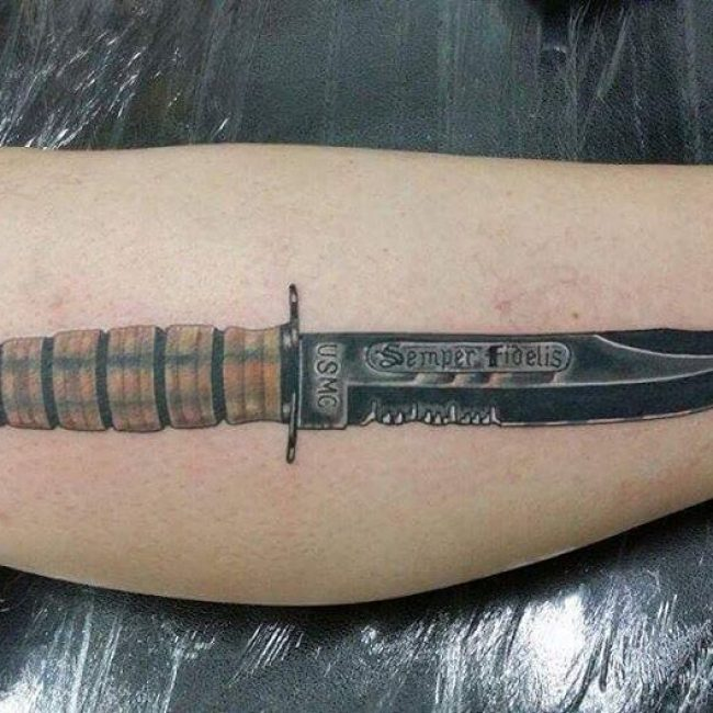 Semper Fidelis Sword Tattoo for USMC Men