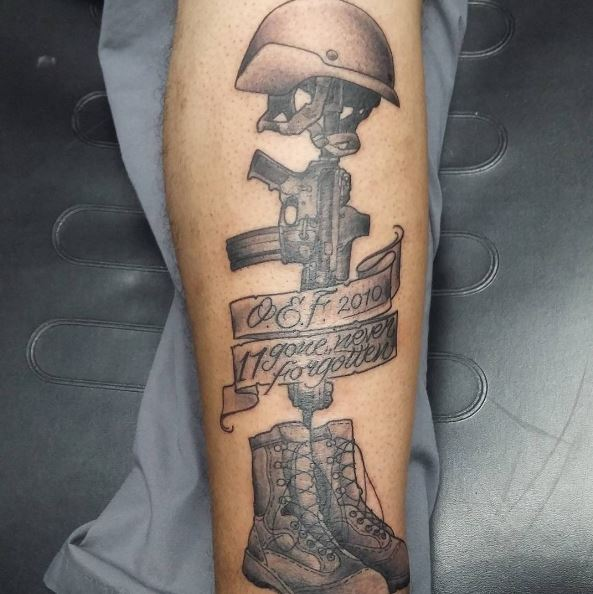 Skeleton Tattoo Dedicated to a Marine who Passed Away