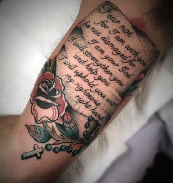 Colorful Bible Quote Upper Arm Tattoo for Men Who Love Roses and Rosaries