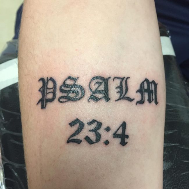 Capital Letter Bible Verse Tattoo Idea for Men
