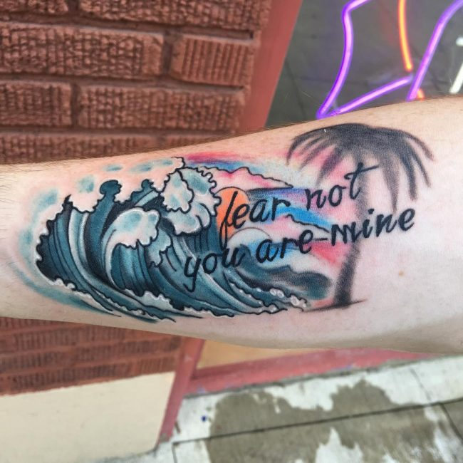 Watercolor and Waves Bible Verse Tattoo Idea for Men