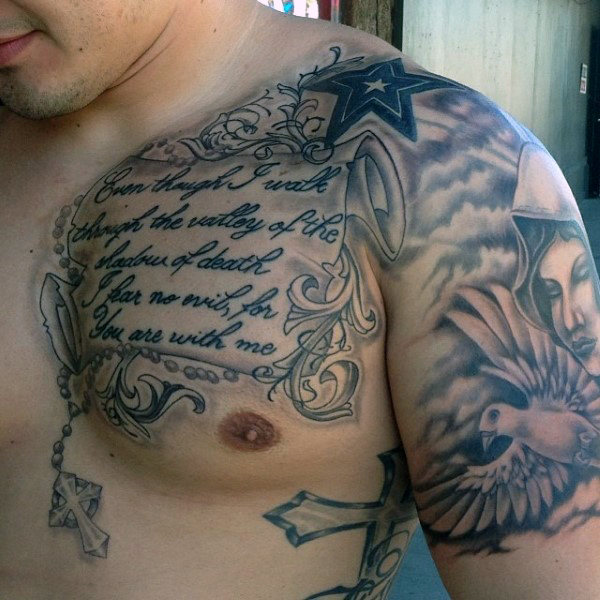 Intricate and Detailed Bible Verse Chest Piece Idea