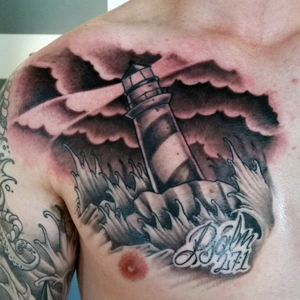 Lighthouse and Bible Verse Storm Tattoo Concept