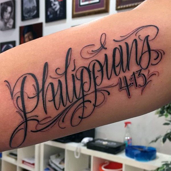 Large Forearm Bible Verse Tattoo for Men