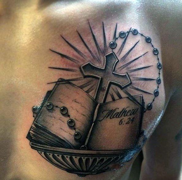 Upper Chest Book of Matthew Bible and Cross Tattoo