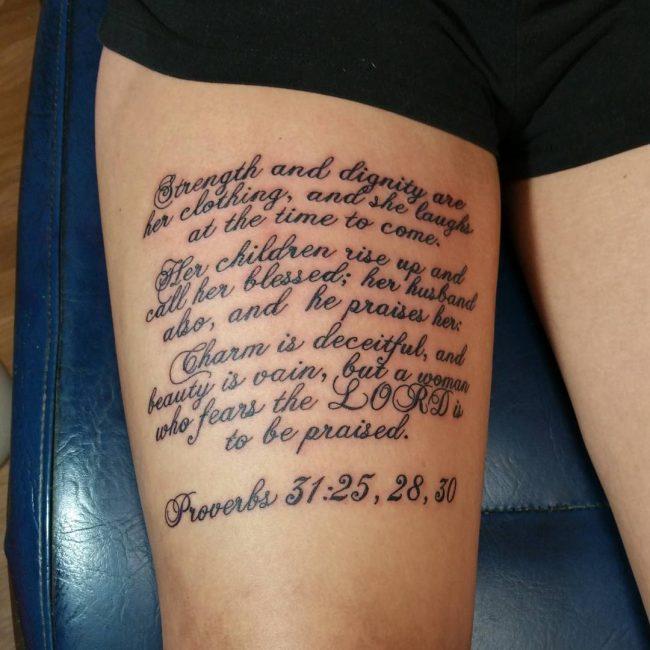 Proverbs Verse Thigh Tattoo Idea