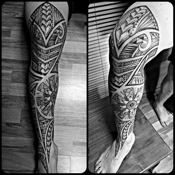 Over the Knee Aztec Tattoo for Men