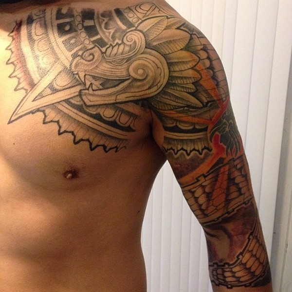 Shoulder and Sleeve Feathered Serpent Tattoo
