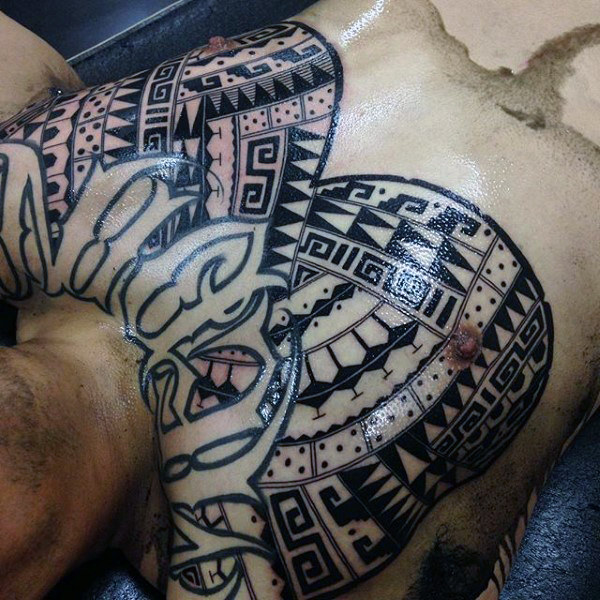 Thick Lines Aztec Symbolism Chest Piece