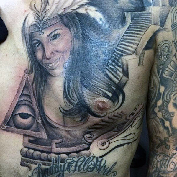 Tattoo of an Aztec Woman and an Amulet