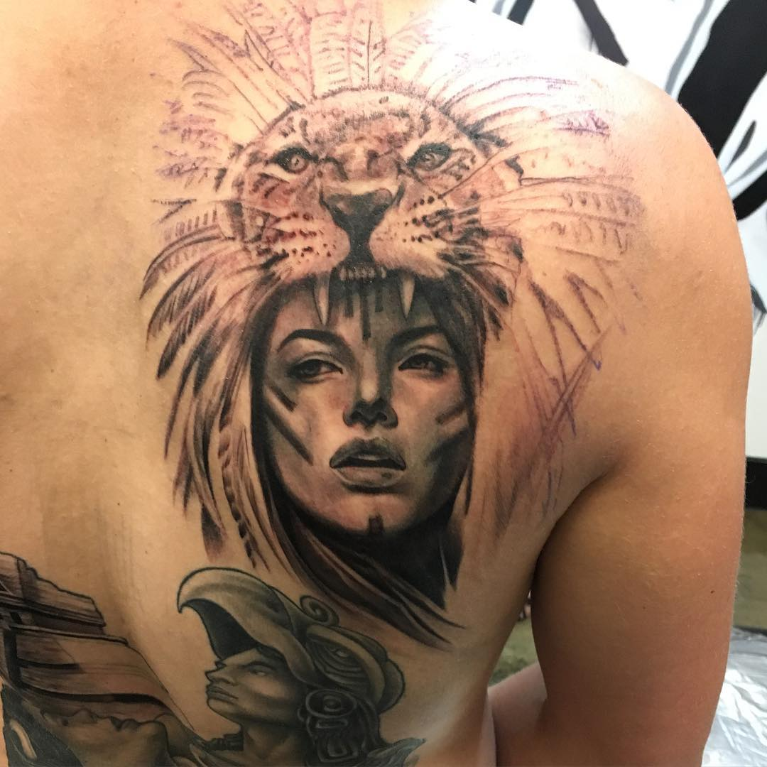 Lion and Warrior Aztec Piece