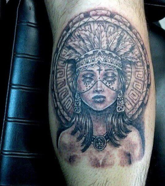 Dual Eyed Aztec Warrior Princess Tattoo