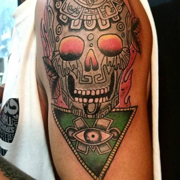 Green, Red, and Yellow Skull Triangle Piece