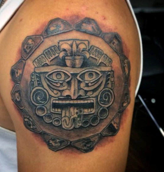 Fine Line Aztec Sun Shoulder Tattoo