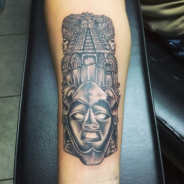 Forearm Aztec Architecture Tattoo