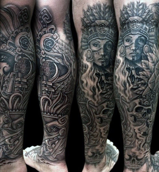 Full Leg Aztec Symbolism Pieces