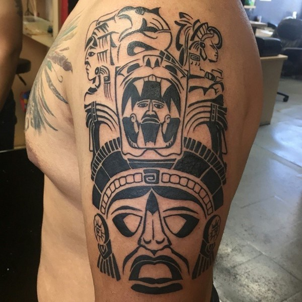 Aztec Fish and Headdress Tattoo