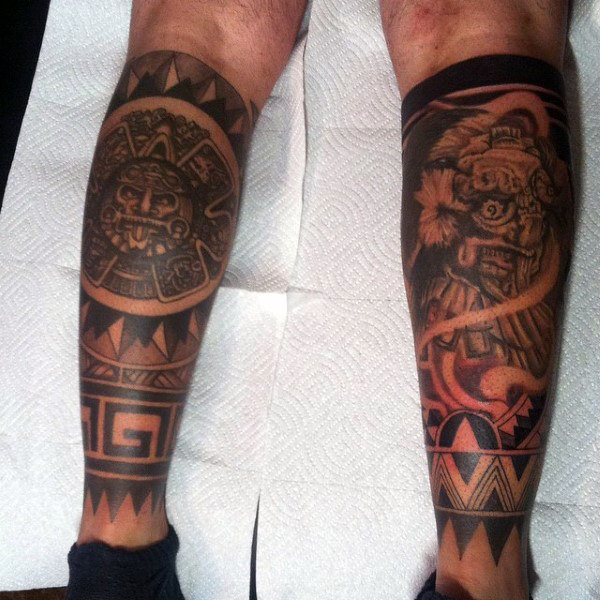 Aztec Calf Tattoo Idea for Men