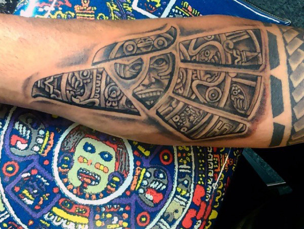Aztec Symbolism Forearm Tattoo