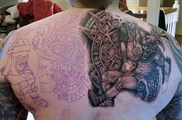 Aztec Warrior Back Tattoo for Men