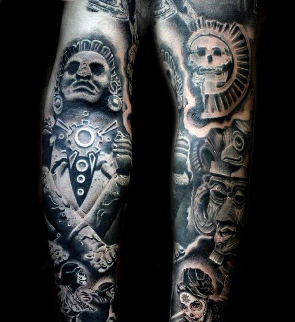 Aztec Gods and Sun Tattoo Arm Sleeve