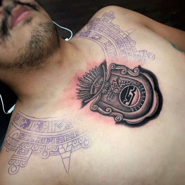 Around the Neck Aztec Tattoo