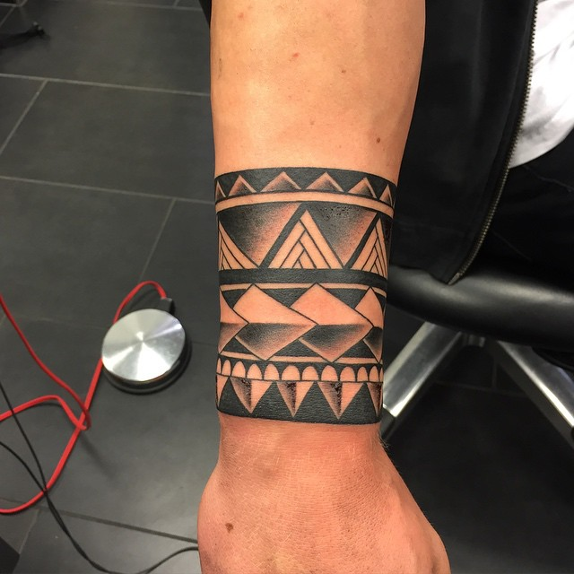 Aztec Design Wristband Tattoo