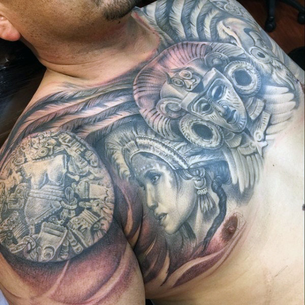 Aztec Warrior Chest Tattoo for Men