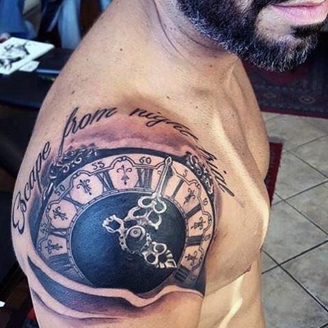 Upper Shoulder Clock Tattoo