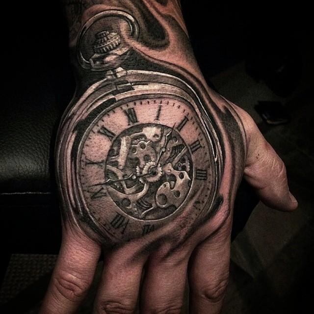 Pocket Watch Hand Tattoo