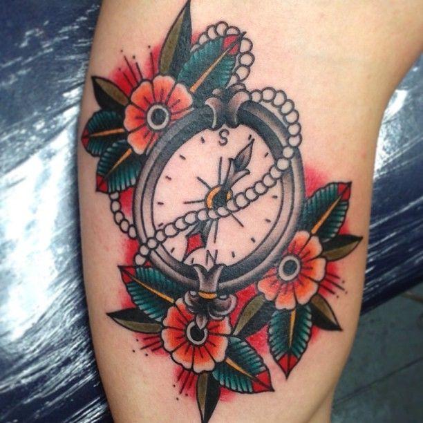 Pearl Clock Tattoo with Three Flowers