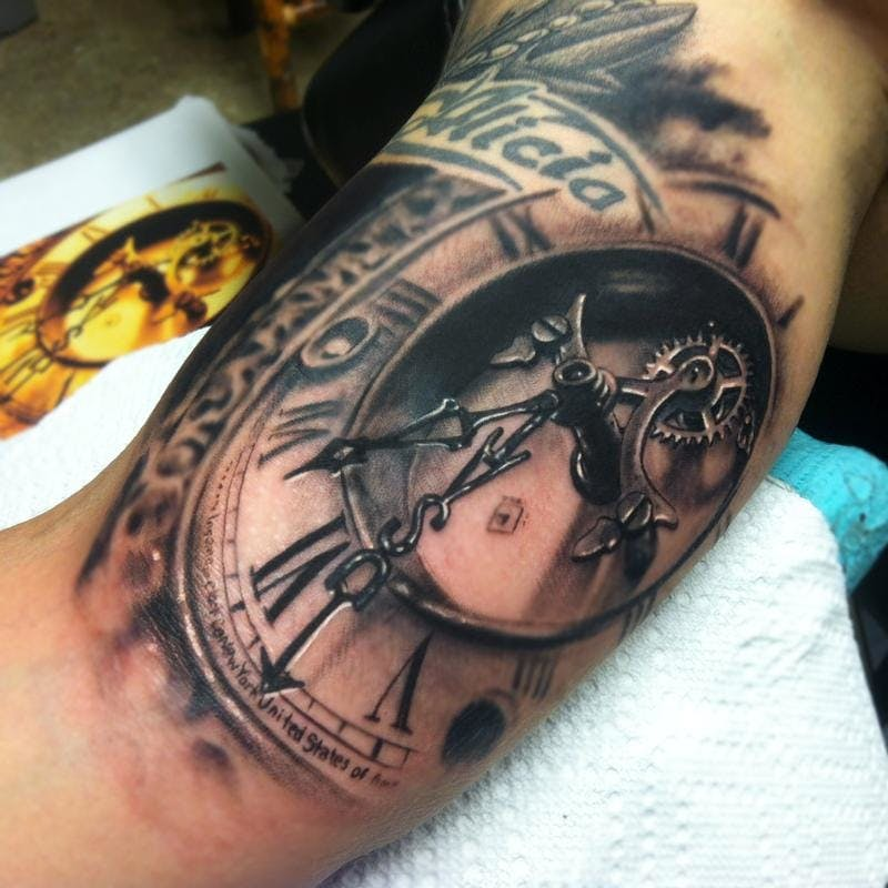 Tattoo of a Clock at an Angle