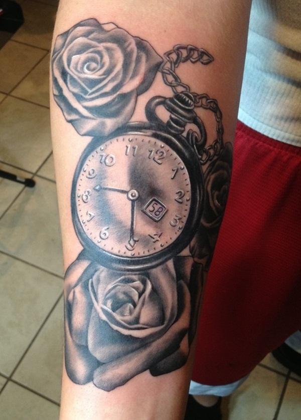 Shaded Analog Clock Tattoo