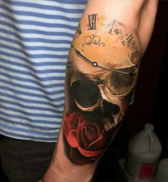 Skeleton with Clock Skull Tattoo