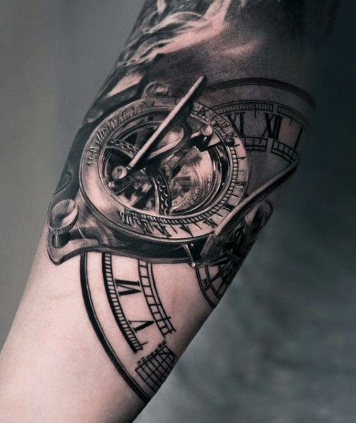 Up Close Detailed Clock Tattoo