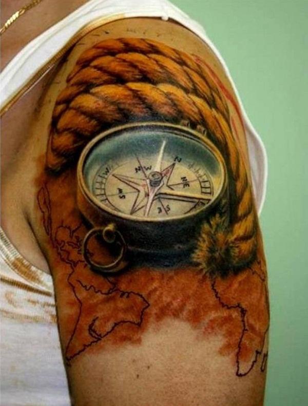 Realistic Compass Clock Shoulder Piece