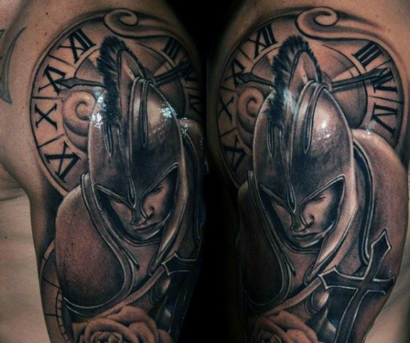 Roman Soldier and Cross Clock Tattoo for Men