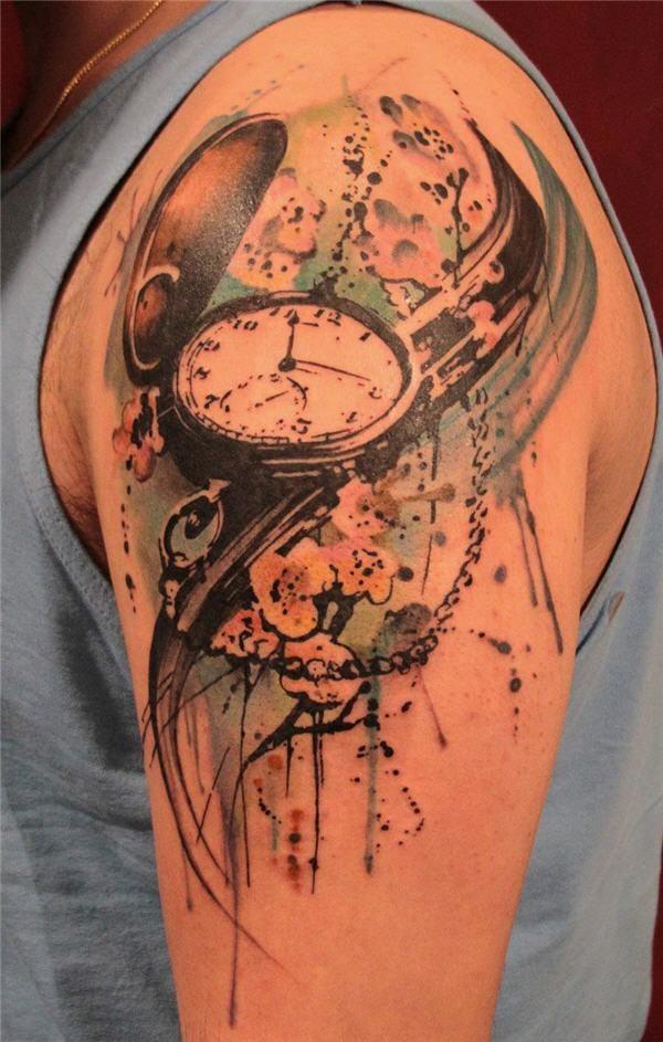 Watercolor Clock Tattoo for Men