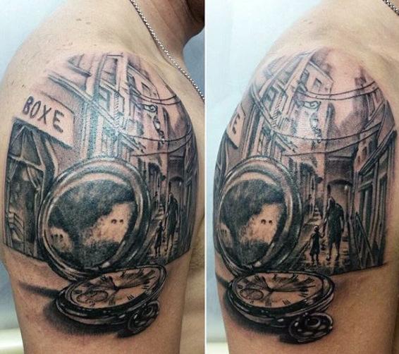 Clock and Mirror Tattoo Idea