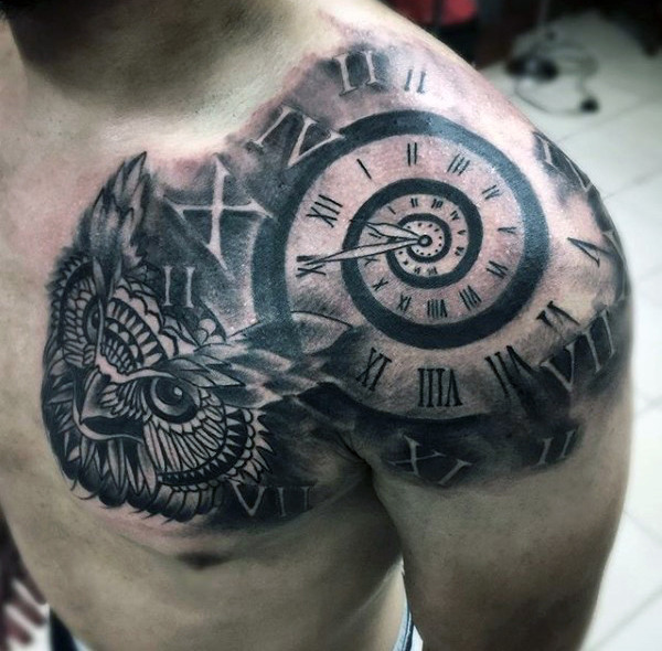 Clock and Owl Shoulder Chest Piece