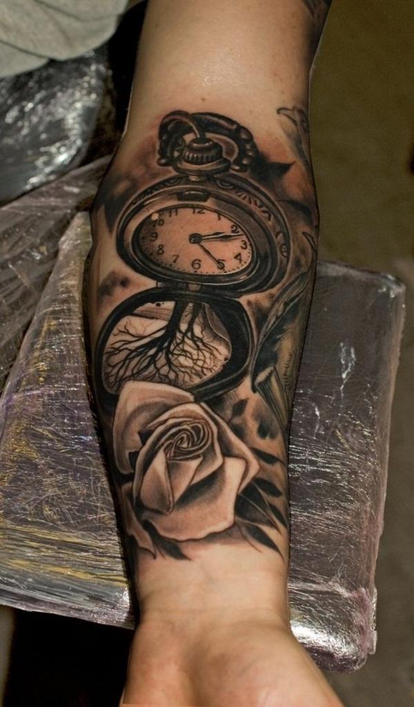 Forearm Clock, Tree, and Rose Tattoo