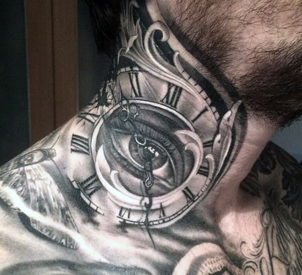 Clock and Lion Upper Thigh Tattoo for Men