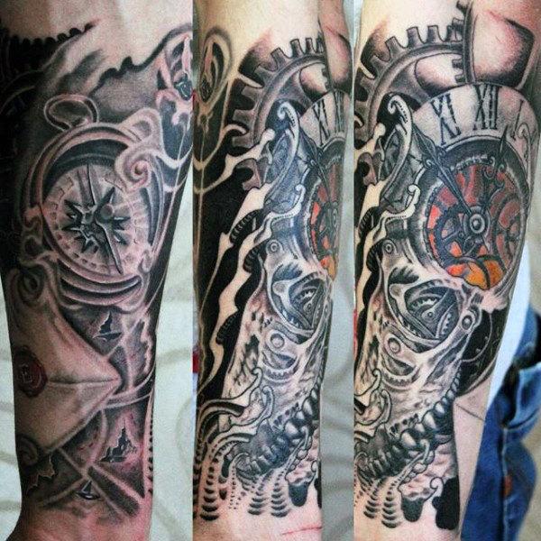 Enhance Your Arm Sleeve with a Clock Tattoo