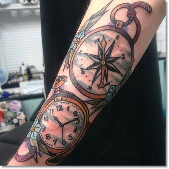 Brightly Colored Two Clock Forearm Piece