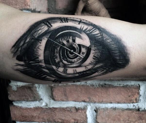 Eye and Clock Illusion Tattoo