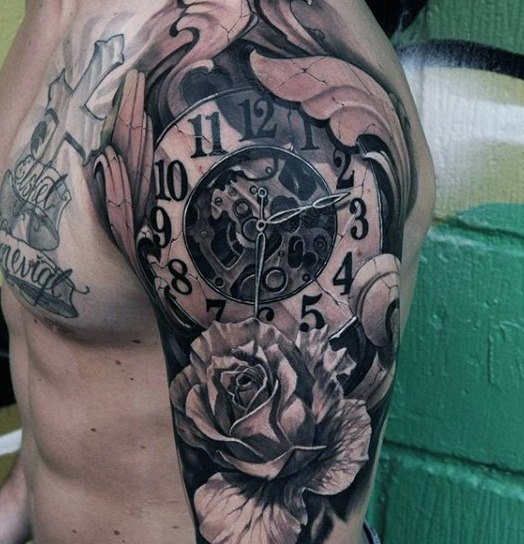 Clock Shoulder Tattoo that Plays with Shadowing